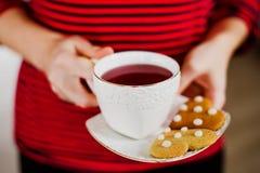 Μπισκότα και τσάι πιπεροριζών Στοκ Φωτογραφίες