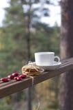 Μπισκότα και φλιτζάνι του καφέ πιπεροριζών Στοκ Εικόνες