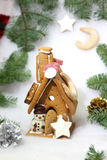 Μπισκότα και χιονάνθρωπος Χριστουγέννων στοκ φωτογραφία