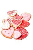 Μπισκότα καρδιών που απομονώνονται σε ένα λευκό Στοκ Εικόνες
