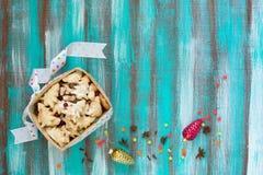 Μπισκότα καλαθιών για τα Χριστούγεννα Στοκ εικόνα με δικαίωμα ελεύθερης χρήσης