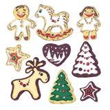 Μπισκότα μελοψωμάτων για τα Χριστούγεννα Μικρά άνθρωποι και fir-trees, ένα ελάφι και ένα άλογο Στοκ φωτογραφία με δικαίωμα ελεύθερης χρήσης