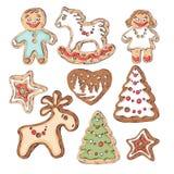 Μπισκότα μελοψωμάτων για τα Χριστούγεννα Μικρά άνθρωποι και fir-trees, ένα ελάφι και ένα άλογο Στοκ φωτογραφίες με δικαίωμα ελεύθερης χρήσης