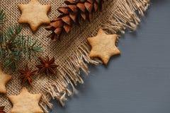 Μπισκότα μελοψωμάτων Χριστουγέννων και δώρα Χριστουγέννων Στοκ εικόνα με δικαίωμα ελεύθερης χρήσης