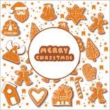 Μπισκότα μελοψωμάτων Χριστουγέννων που κάνουν ένα ορθογώνιο πλαίσιο επίσης corel σύρετε το διάνυσμα απεικόνισης Ευτυχής αφίσα χει ελεύθερη απεικόνιση δικαιώματος