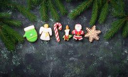 Μπισκότα μελοψωμάτων Χριστουγέννων στη μορφή Santa, snowflake, cand Στοκ Εικόνες