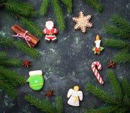 Μπισκότα μελοψωμάτων Χριστουγέννων στη μορφή Santa, snowflake, cand Στοκ Εικόνα