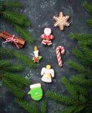 Μπισκότα μελοψωμάτων Χριστουγέννων στη μορφή Santa, snowflake, cand Στοκ Φωτογραφίες