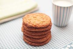 Μπισκότα με ένα φλυτζάνι του γάλακτος Στοκ φωτογραφίες με δικαίωμα ελεύθερης χρήσης