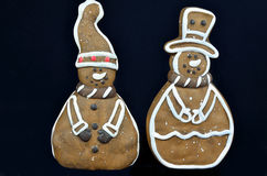 Μπισκότα μελοψωμάτων, που απομονώνονται στο Μαύρο Στοκ Εικόνες
