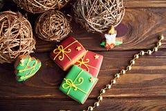 Μπισκότα μελοψωμάτων Χριστουγέννων 1 ζωή ακόμα Στοκ Φωτογραφίες