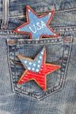 Μπισκότα με τα αμερικανικά πατριωτικά χρώματα στην τσέπη Στοκ Εικόνες