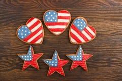 Μπισκότα με τα αμερικανικά πατριωτικά χρώματα Στοκ εικόνες με δικαίωμα ελεύθερης χρήσης