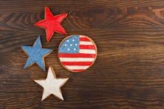 Μπισκότα με τα αμερικανικά πατριωτικά χρώματα Στοκ Φωτογραφίες