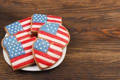 Μπισκότα με τα αμερικανικά πατριωτικά χρώματα Στοκ φωτογραφία με δικαίωμα ελεύθερης χρήσης