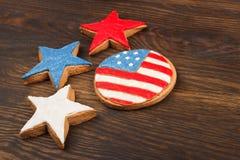 Μπισκότα με τα αμερικανικά πατριωτικά χρώματα Στοκ Εικόνες