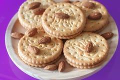 Μπισκότα με τα αμύγδαλα και τη σοκολάτα Στοκ Εικόνα