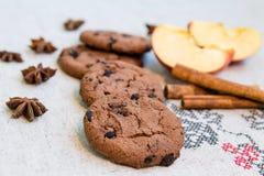 Μπισκότα με την κανέλα, το μήλο και το γλυκάνισο Στοκ Εικόνες