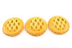 Μπισκότα με τη μαρμελάδα μήλων που απομονώνεται στο λευκό Στοκ Φωτογραφία
