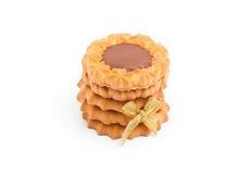 Μπισκότα με τη σοκολάτα στο άσπρο υπόβαθρο Στοκ Εικόνες