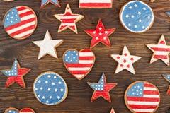 Μπισκότα με το αμερικανικό πατριωτικό θεματικό χρώμα Στοκ Εικόνα