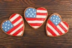 Μπισκότα με το αμερικανικό πατριωτικό θεματικό χρώμα Στοκ φωτογραφία με δικαίωμα ελεύθερης χρήσης