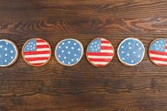 Μπισκότα με το αμερικανικό πατριωτικό θεματικό χρώμα Στοκ Εικόνες