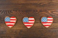 Μπισκότα με το αμερικανικό πατριωτικό χρώμα Στοκ εικόνα με δικαίωμα ελεύθερης χρήσης