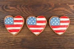 Μπισκότα με το αμερικανικό πατριωτικό χρώμα Στοκ Φωτογραφία