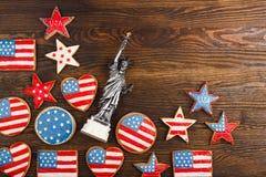 Μπισκότα με το αμερικανικό πατριωτικό χρώμα Στοκ φωτογραφία με δικαίωμα ελεύθερης χρήσης