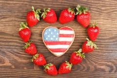 Μπισκότα με το αμερικανικό πατριωτικό χρώμα Στοκ Εικόνες