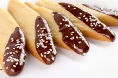 Μπισκότα με το λούστρο σοκολάτας που απομονώνεται στο άσπρο υπόβαθρο Στοκ φωτογραφία με δικαίωμα ελεύθερης χρήσης
