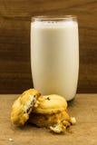 Μπισκότα με το φρέσκο γάλα Στοκ Φωτογραφίες