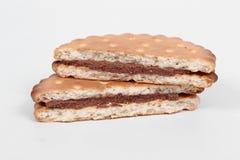 Μπισκότα που γεμίζουν με τη σοκολάτα Στοκ Εικόνα