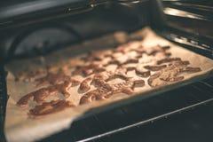 Μπισκότα που ψήνουν στο φούρνο Κάνοντας τη σειρά μπισκότων μελοψωμάτων - vint Στοκ φωτογραφίες με δικαίωμα ελεύθερης χρήσης