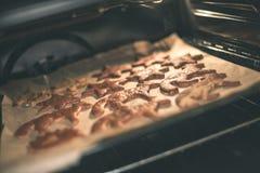 Μπισκότα που ψήνουν στο φούρνο Κάνοντας τη σειρά μπισκότων μελοψωμάτων - vint Στοκ Εικόνες
