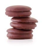 μπισκότα σοκολάτας πιτών choco που απομονώνονται στο λευκό Στοκ Εικόνες
