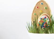 Μπισκότα στην εικόνα των αυγών Πάσχας στη χλόη απομονωμένος Στοκ Φωτογραφίες