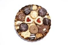 Μπισκότα στο πιάτο, ανυψωμένη άποψη στοκ φωτογραφία με δικαίωμα ελεύθερης χρήσης