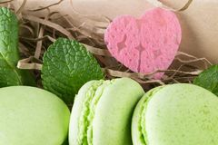 Μπισκότα της Apple με τα φύλλα μεντών και μια όμορφη καρδιά Στοκ Εικόνα