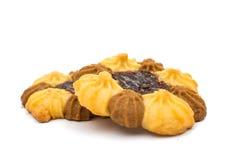 Μπισκότα τη μαρμελάδα που απομονώνεται με Στοκ Εικόνες