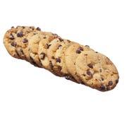 Μπισκότα τσιπ σοκολάτας που απομονώνονται στο λευκό. Σπιτικά μπισκότα ζύμης Στοκ Φωτογραφίες
