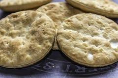 Μπισκότα τυριών σε έναν δίσκο πλακών Στοκ εικόνα με δικαίωμα ελεύθερης χρήσης
