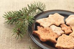 Μπισκότα Χριστουγέννων και κλάδοι δέντρων Στοκ Φωτογραφία