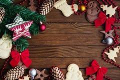 Μπισκότα Χριστουγέννων υποβάθρου Στοκ Φωτογραφίες
