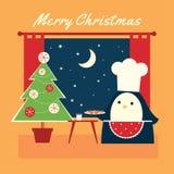 Μπισκότα Χριστουγέννων penguin κίτρινα ελεύθερη απεικόνιση δικαιώματος