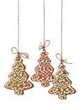 Μπισκότα χριστουγεννιάτικων δέντρων που απομονώνονται Στοκ εικόνα με δικαίωμα ελεύθερης χρήσης