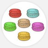 Μπισκότα Macaron με τις διαφορετικές γεύσεις επίσης corel σύρετε το διάνυσμα απεικόνισης Στοκ φωτογραφία με δικαίωμα ελεύθερης χρήσης