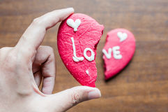 Μπισκότο καρδιών Brocken Στοκ φωτογραφία με δικαίωμα ελεύθερης χρήσης