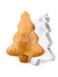Μπισκότο μελοψωμάτων Χριστουγέννων με τον κόπτη μπισκότων στοκ εικόνα